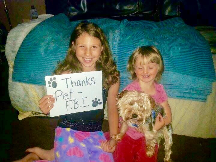 girls, yorkie and TY sign
